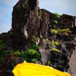 Sonnenschirm und schwarzer Fels am Strand von Sao Martinho